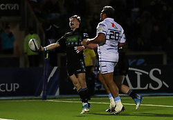Glasgow Warriors George Horne celebrates scoring a try against Cardiff Blues during the Heineken Champions Cup match at Scotstoun Stadium, Glasgow.