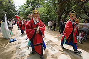 Jongmyo Jerye, a ritual service for Royal ancestors, performed on the first Sunday of May each year. Jongmyo (designated as a World Cultural Heritage by UNESCO in 1995) is a Confucian shrine where the ancestral tablets of kings and queens of the Joseon Dynasty are enshrined. Procession of Royal family members from Gyeongbokgung to Jongmyo.