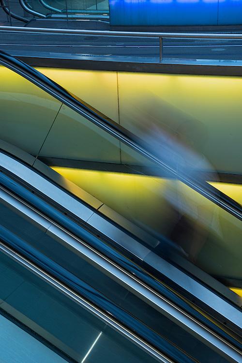 Europe, Switzerland, Zuerich, escalator at main train station
