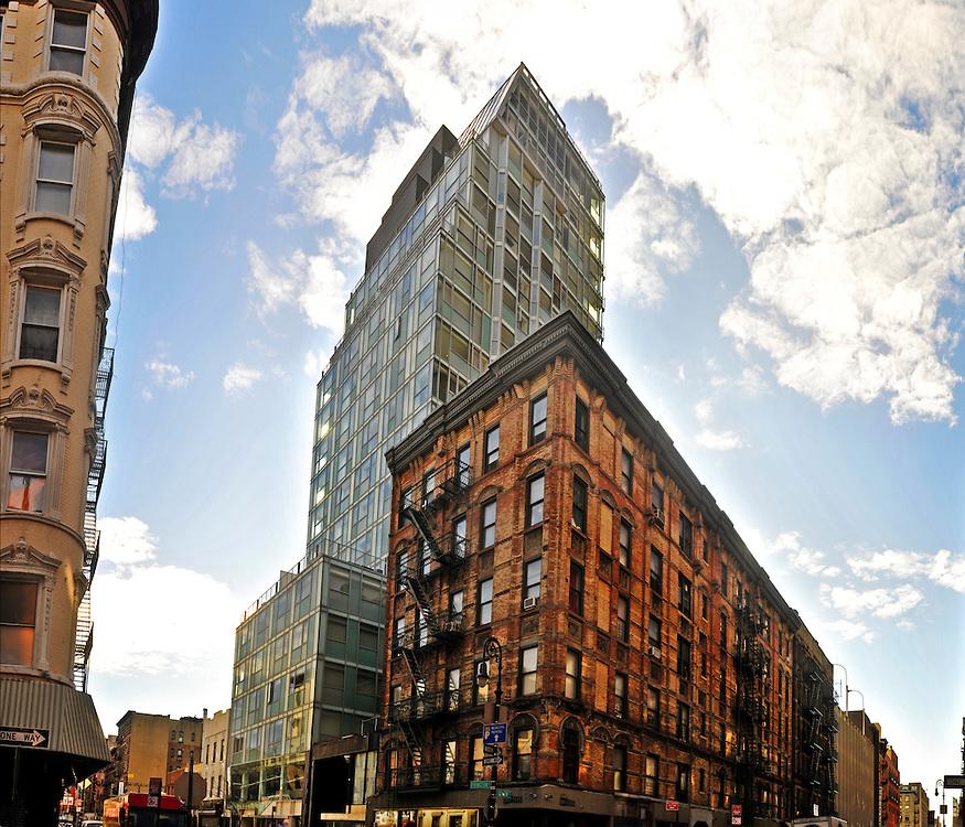 Hotel on Rivington, designed by Grzywinski Pons, Corner Rivington St. and Ludlow St., Manhattan, New York City, New York, USA