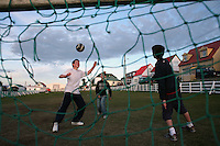 Kids play soccer in a small park in Stanley, the capital of the Falkland Islands, on Thursday, March 22, 2007. This year is the 25 anniversary of the war for sovereignty of the islands between the United Kingdom and Argentina. The two-month war resulted in the withdrawal of Argentinean forces and the islands remained part of the United Kingdom. After the war on the islands there has been strong economic development. (Photo/Scott Dalton)