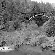 Smith River - Myrtle Creek Bridge - Hwy 199 - Six River National Forest - Northern CA - Infrared Black & White