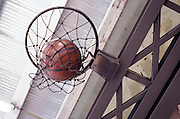 view from beneath of basketball hoop