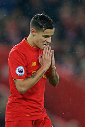 LIVERPOOL, ENGLAND - Tuesday, January 31, 2017: Liverpool's Philippe Coutinho Correia looks dejected after missing a chance against Chelsea during the FA Premier League match at Anfield. (Pic by David Rawcliffe/Propaganda)