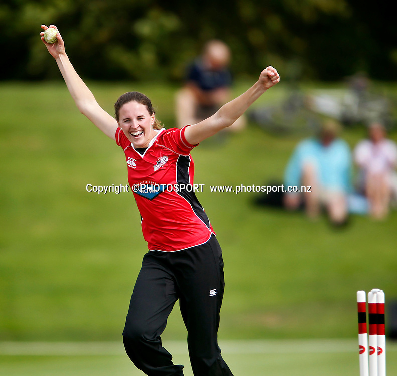 Canterbury captain Amy Satterthwaite celebrates the taking of the final wicket to win the match. Canterbury Magicians v Wellington Blaze in the Action Cricket Cup Final. Women's Cricket. QEII Park, Christchurch, New Zealand. Sunday, 30 January 2011. Joseph Johnson / PHOTOSPORT.