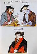 16th century Illustrators at work sketching a flower for Leonhart Fuchs books of herbs De Historia Stirpium Commentarii Insignes Published in Basel in 1542 Heinrich Füllmauer, Albrecht Meyer, and Veit Rudolf Speckle