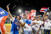 CULIACAN, MEXICO - FEBRUARY 7, 2017: Fans charge the field and celebrate on the field after Puerto Rico defeats Mexico to win the Caribbean Series championship game at Estadio de los Tomateros on February 8, 2017 in Culiacan, Rosales. (Photo by Jean Fruth)
