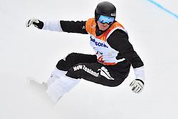 MURPHY Carl NZL competing in ParaSnowboard, Snowboard Banked Slalom at  the PyeongChang2018 Winter Paralympic Games, South Korea.