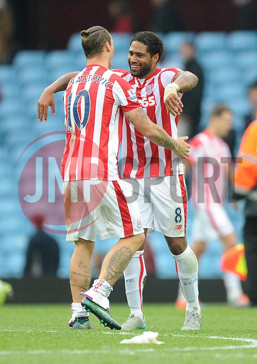 Marko Arnautovic of Stoke City celebrates with Glen Johnson of Stoke City - Mandatory byline: Alex James/JMP - 07966 386802 - 03/10/2015 - FOOTBALL - Villa Park - Birmingham, England - Aston Villa v Stoke City - Barclays Premier League