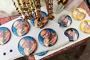 29 DECEMBER 2013 - BANGKOK, THAILAND: Photos of the Patriarch of Bhumibol Adulyadej, the King of Thailand, for sale at Wat Bowon Niwet in Bangkok. Somdet Phra Nyanasamvara, who headed Thailand's order of Buddhist monks for more than two decades and was known as the Supreme Patriarch, died Oct. 24 at a hospital in Bangkok. He was 100. He was ordained as a Buddhist monk in 1933 and rose through the monastic ranks to become the Supreme Patriarch in 1989. He was the spiritual advisor to Bhumibol Adulyadej, the King of Thailand when the King served as monk in 1956. There is a 100 day mourning period for the Patriarch. Although the Patriarch was a Theravada Buddhist, he was the Supreme Patriarch of all Buddhists in Thailand, including the Mahayana sect, which is based on Chinese Buddhism.        PHOTO BY JACK KURTZ