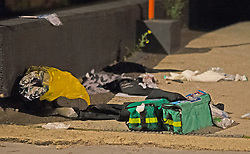 ©Licensed to London News Pictures 17/06/2020<br /> Croydon, UK. Clothes on the ground near first aid bags.  A man in his twenties is fight for his life in hospital tonight after being stabbed in Croydon, South East London. Police and paramedics were called at 7.45pm. Police are on scene and a cordon is in place. Photo credit: Grant Falvey/LNP
