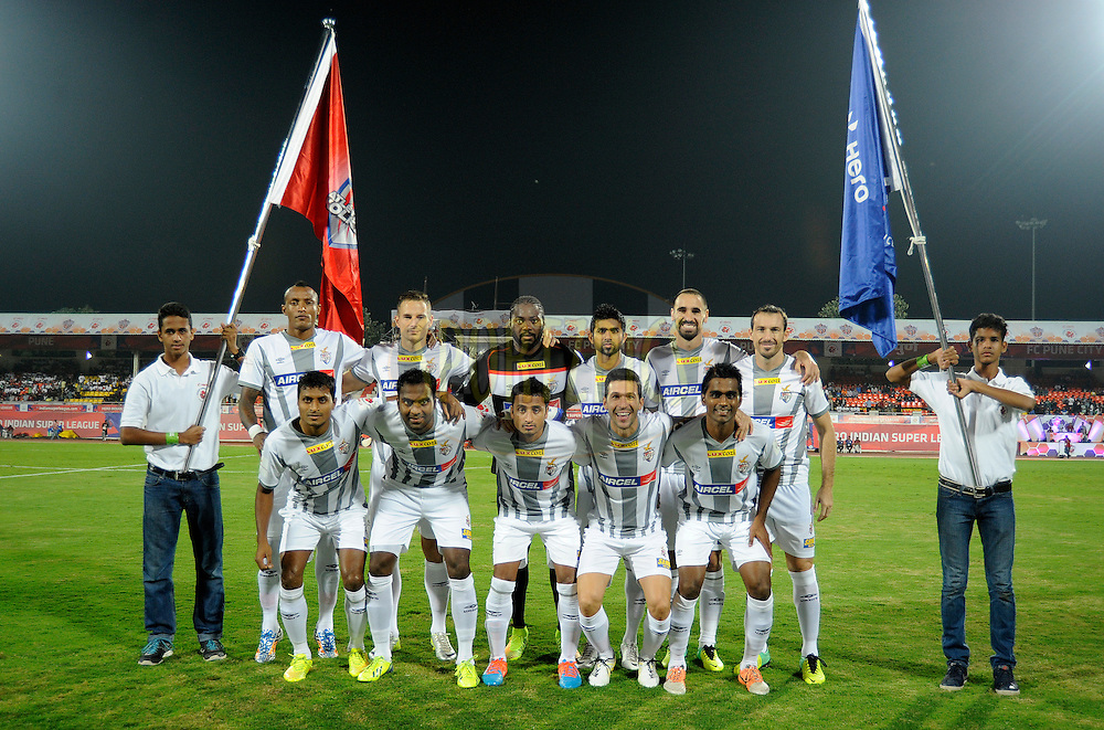 Players from Atletico de Kolkata pose for a photograph during match 44 of the Hero Indian Super League between FC Pune City and Atletico de Kolkata FC held at the Shree Shiv Chhatrapati Sports Complex Stadium, Pune, India on the 29th November 2014.<br /> <br /> Photo by:  Pal Pillai/ ISL/ SPORTZPICS