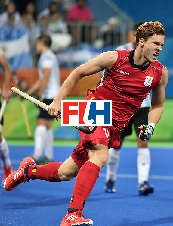 Belgium's Gauthier Boccard celebrates a goal during the men's Gold medal field hockey Belgium vs Argentina match of the Rio 2016 Olympics Games at the Olympic Hockey Centre in Rio de Janeiro on August 18, 2016. / AFP / Pascal GUYOT        (Photo credit should read PASCAL GUYOT/AFP/Getty Images)