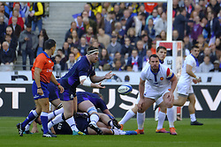 February 23, 2019 - Saint Denis, Seine Saint Denis, France - The Prop of Scotland team SIMON BERGHAN in action during the Guinness Six Nations Rugby tournament between France and Scotland at the Stade de France - St Denis - France..France won 27-10 (Credit Image: © Pierre Stevenin/ZUMA Wire)