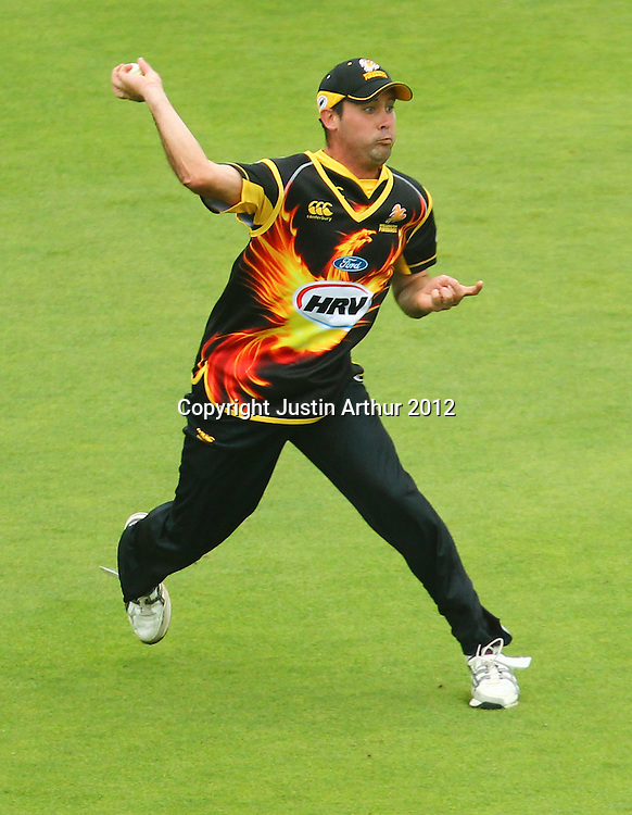 Dane Hutchinson fields during the 2012/2013 HRV Cup Twenty20 session. Wellington Firebirds v Central Stags at the Basin Reserve, Wellington, New Zealand on Wednesday 26 December 2012. Photo: Justin Arthur / photosport.co.nz