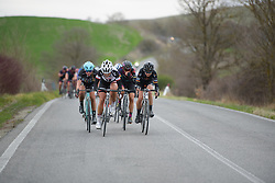 A small group escape lead by Floortje Mackaij (Sunweb) and Claudia Lichtenberg (Wiggle High5) at Strade Bianche - Elite Women. A 127 km road race on March 4th 2017, starting and finishing in Siena, Italy. (Photo by Sean Robinson/Velofocus)