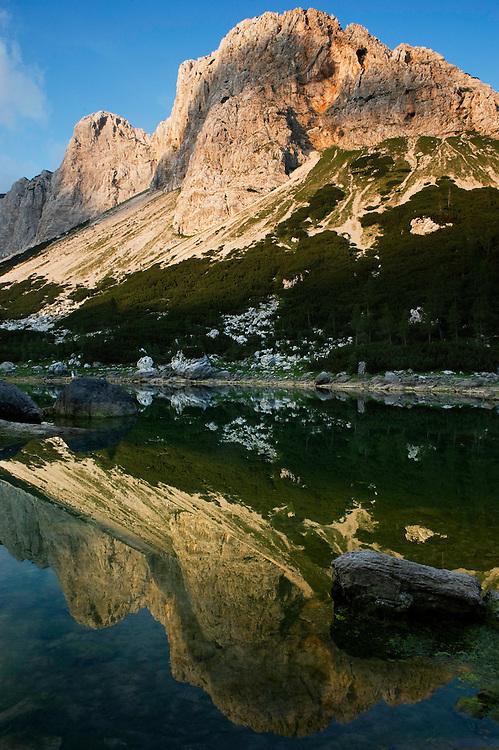 Second Double Lake (Dvojno jezero) with Mount Ticarica<br /> Triglav National Park, Slovenia<br /> August 2009