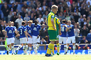 Steven Naismith of Norwich looks dejected after conceding his side&rsquo;s 1st goal during the Barclays Premier League match at Goodison Park, Liverpool<br /> Picture by Paul Chesterton/Focus Images Ltd +44 7904 640267<br /> 15/05/2016