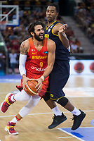 Spain's Ricky Rubio and Venezuela's John Cox during friendly match for the preparation for Eurobasket 2017 between Spain and Venezuela at Madrid Arena in Madrid, Spain August 15, 2017. (ALTERPHOTOS/Borja B.Hojas)