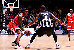 Fred Thomas of Bristol Flyers takes on Jeremy Smith of Newcastle Eagles  - Photo mandatory by-line: Robbie Stephenson/JMP - 01/03/2019 - BASKETBALL - Eagles Community Arena - Newcastle upon Tyne, England - Newcastle Eagles v Bristol Flyers - British Basketball League Championship