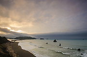 Sunrise and fog over the mouth of the Russian River and the Sonoma County Coast near Jenner, California