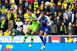 Ben Godfrey of Norwich City challenges Nick Powell of Wigan Athletic - Mandatory by-line: Robbie Stephenson/JMP - 14/04/2019 - FOOTBALL - DW Stadium - Wigan, England - Wigan Athletic v Norwich City - Sky Bet Championship