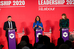 © Licensed to London News Pictures. 16/02/2020. London, UK. Labour Party deputy leadership candidates IAN MURRAY MP for Edinburgh South, DR ROSENA ALLIN-KHAN MP for for Tooting and ANGELA RAYNER MP for Ashton-under-Lyne (L to R) at a hustings event hosted by the Co-operative Party held at Business Design Centre, north London. Photo credit: Dinendra Haria/LNP