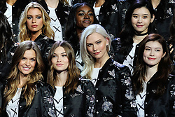 Models pose for a group shot ahead of the Victoria's Secret Fashion Show at the Mercedes-Benz Arena Shanghai in Shanghai, China on November 18, 2017. Photo by Aurore Marechal/ABACAPRESS.COM