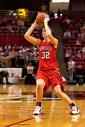 12 February 2012:  MacKenzie Westscott during an NCAA women's basketball game Where the Bradley Braves lost to the Illinois Sate Redbirds 82-63.  It was Play 4Kay day in honor of the cancer research fund set up by Coach Kay Yow at Redbird Arena in Normal IL