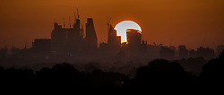 © Licensed to London News Pictures. 03/05/2018. London, UK. The sun rises on the City of London as the weather improves ahead of the bank holiday weekend. Photo credit: Peter Macdiarmid/LNP