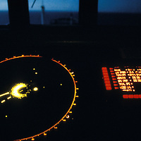USA, Alaska, Radar display on bridge of Oil tanker Arco Juneau sailing for San Francisco, CA