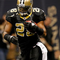 December 4, 2011; New Orleans, LA, USA; New Orleans Saints running back Mark Ingram (28) against the Detroit Lions prior to kickoff of a game at the Mercedes-Benz Superdome. Mandatory Credit: Derick E. Hingle-US PRESSWIRE