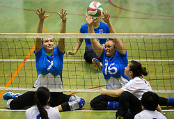 Larisa Pirih of Slovenia and Jasmina Zbil of Slovenia during friendly Sitting Volleyball match between National teams of Slovenia and China, on October 22, 2017 in Sempeter pri Zalcu, Slovenia. (Photo by Vid Ponikvar / Sportida)