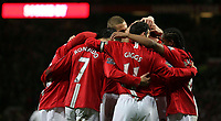 Photo: Paul Thomas/Sportsbeat Images.<br /> Manchester United v Fulham. The FA Barclays Premiership. 03/12/2007.<br /> <br /> Cristiano Ronaldo (7) and Man Utd celebrate his 2nd goal.