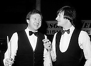 Two world champions from Northern Ireland: Dennis Taylor and Alex 'Hurricane' Higgins at the Benson & Hedges Irish Masters snooker tournament at Goffs, Kill, County Kildare. After making it through to the final several times, Higgins finally won the tournament in 1989.<br /> 1 May 1980