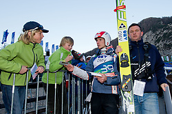Fans and Robert Kranjec of Slovenia during Flying Hill Individual at 2nd day of FIS Ski Jumping World Cup Finals Planica 2012, on March 16, 2012, Planica, Slovenia. (Photo by Matic Klansek Velej / Sportida.com)