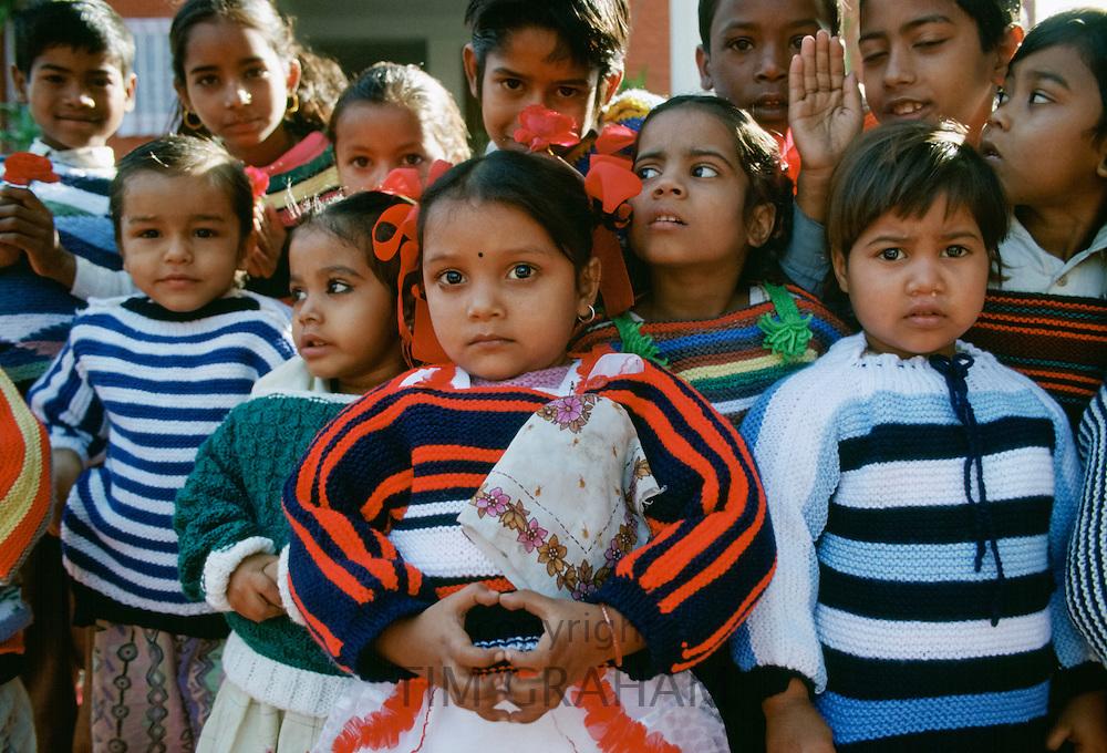 Group of Indian children attending festival