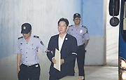 Vice chairman of Samsung Electronics Lee Jae-Yong (C) arrives at the Seoul Central District Court from a prison before his trial in Seoul, South Korea, August 4, 2017. Lee stood accused of bribery related to the merger of two of Samsung's affiliates involving former President Park Geun-hye. Photo by Lee Jae-Won (SOUTH KOREA) www.leejaewonpix.com