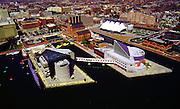 Aerial view of Baltimore Aquarium,  Inner Harbor, Maryland