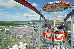 View from the ferris wheel looking towards the main stage and the camping area behind that, on Sunday 10th July 2005 at the T in the Park music festival, Balado in Fife, Scotland..Pic: © Michael Schofield.