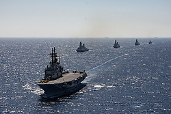 April 25, 2019 - Mediterranean Sea - Italian Aircraft Carrier Giuseppe Garibaldi in mediterranean sea engaged in the exercise Mare Aperto 2019-1, an Italian multilateral maritime warfare exercise designed to promote interoperability and proficiency, in 2019 joined by 40 ships and 5 submarines from the navies of Canada, France, England, the Netherlands, Portugal, Spain and the United States. (Credit Image: © Francesco Militello Mirto/ZUMA Wire)