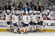 SHOT 2/25/17 8:38:33 PM - Buffalo Sabres' head coach Dan Bylsma gathers his players after a goal against as his team plays against the Colorado Avalanche during their NHL regular season game at the Pepsi Center in Denver, Co. The Avalanche won the game 5-3. (Photo by Marc Piscotty / © 2017)