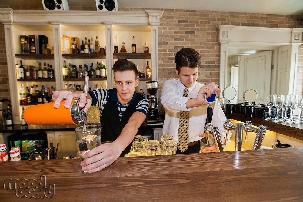 Bartenders working at counter in restaurant