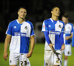 Billy Bodin of Bristol Rovers with Daniel Leadbitter - Mandatory byline: Neil Brookman/JMP - 07966 386802 - 06/10/2015 - FOOTBALL - Memorial Stadium - Bristol, England - Bristol Rovers v Wycombe Wanderers - JPT Trophy