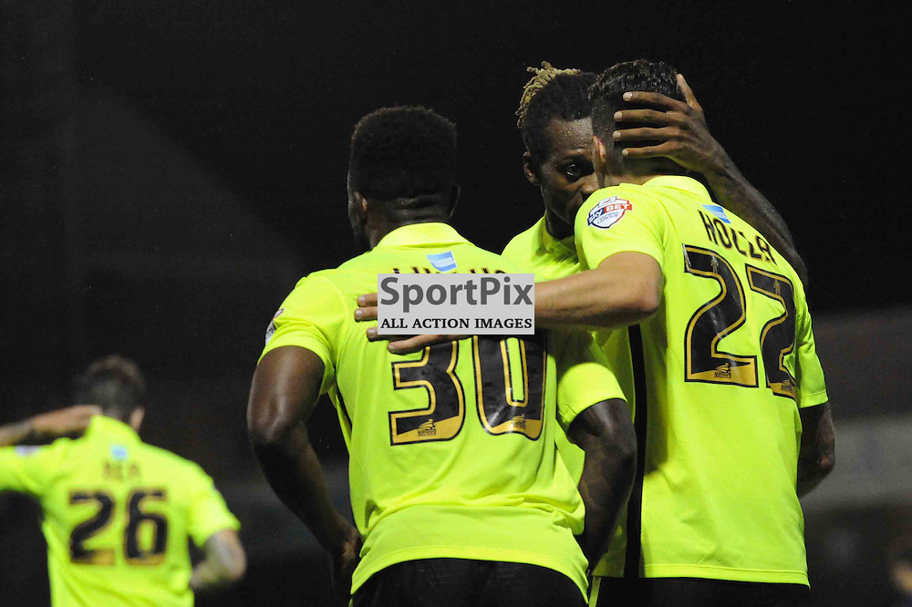 Brightons Kazenga Lualua celebrates scoring the winning goal with his teammates during the Southend v Brighton match in the first round of the Capital One Cup