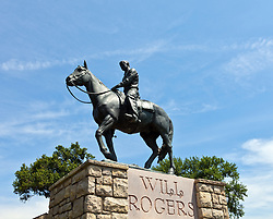"Claremore, OK:  A statue of Will Rogers on his favorite horse stands below his tomb at the Will Rogers Memorial museum. .From Wikipedia: ""(This) is a 19,052-square-foot museum in Claremore, Oklahoma, that memorializes entertainer Will Rogers. The museum houses artifacts, memorabilia, photographs, and manuscripts pertaining to Rogers' life, and documentaries, speeches, and movies starring Rogers are shown in a theater. Rogers' tomb is located on its 20-acre grounds overlooking Claremore and Rogers State University..""The land for the museum was originally purchased by Rogers, a Claremore native, in 1911 for the site of his retirement home, but was given to members of the Rogers family after his death and later donated to the state of Oklahoma. The museum opened in 1938, three years after his death."""