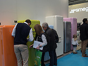 SMEG FRIDGES, Ideal Home Show, sponsored by Zoopla, Olympia. London. 19 March 2016