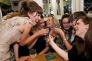 LISA KERR; SURANNE JONES; STELLA GONET; CATHERINE MCCORMACK; LAURA ELPHINSTONE; OLIVIA POULET, Caryl Churchill's Top Girls opening night at the Trafalgar Studios. Party afterwards in Walker's Court. London. 16 August 2011. <br /> <br />  , -DO NOT ARCHIVE-© Copyright Photograph by Dafydd Jones. 248 Clapham Rd. London SW9 0PZ. Tel 0207 820 0771. www.dafjones.com.