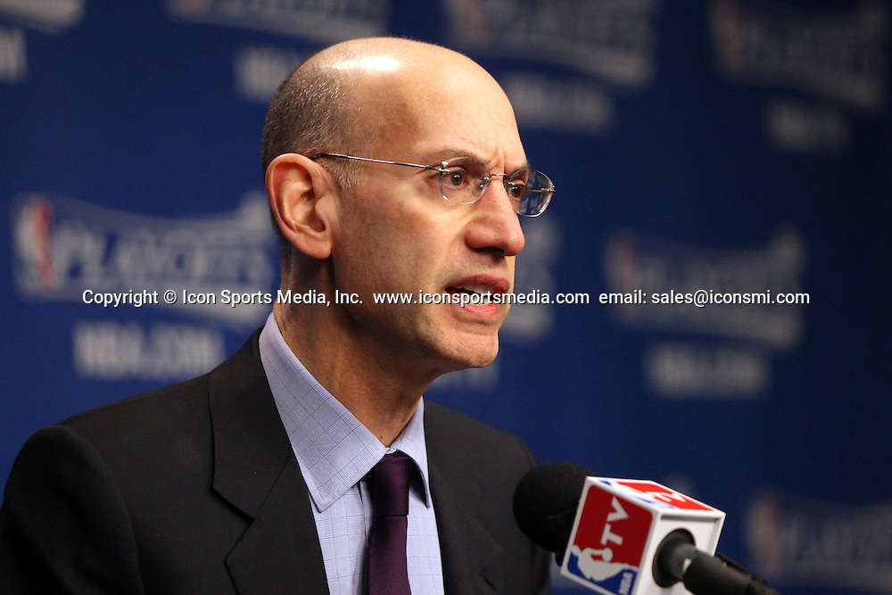 April 26, 2014 - Memphis, TN, USA - NBA commissioner Adam Silver addresses the media as the Memphis Grizzlies play host to the Oklahoma City Thunder for Game 4 of an Eastern Conference quarterfinal at FedExForum in Memphis, Tenn., on Saturday, April 26, 2014.