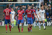 Bernard Mensah (Aldershot Town) scores an equaliser to make it 1-1 (4-1). The players gather the ball and run back to the half way line without celebrating during the Vanarama National League second leg play off match between Tranmere Rovers and Aldershot Town at Prenton Park, Birkenhead, England on 6 May 2017. Photo by Mark P Doherty.